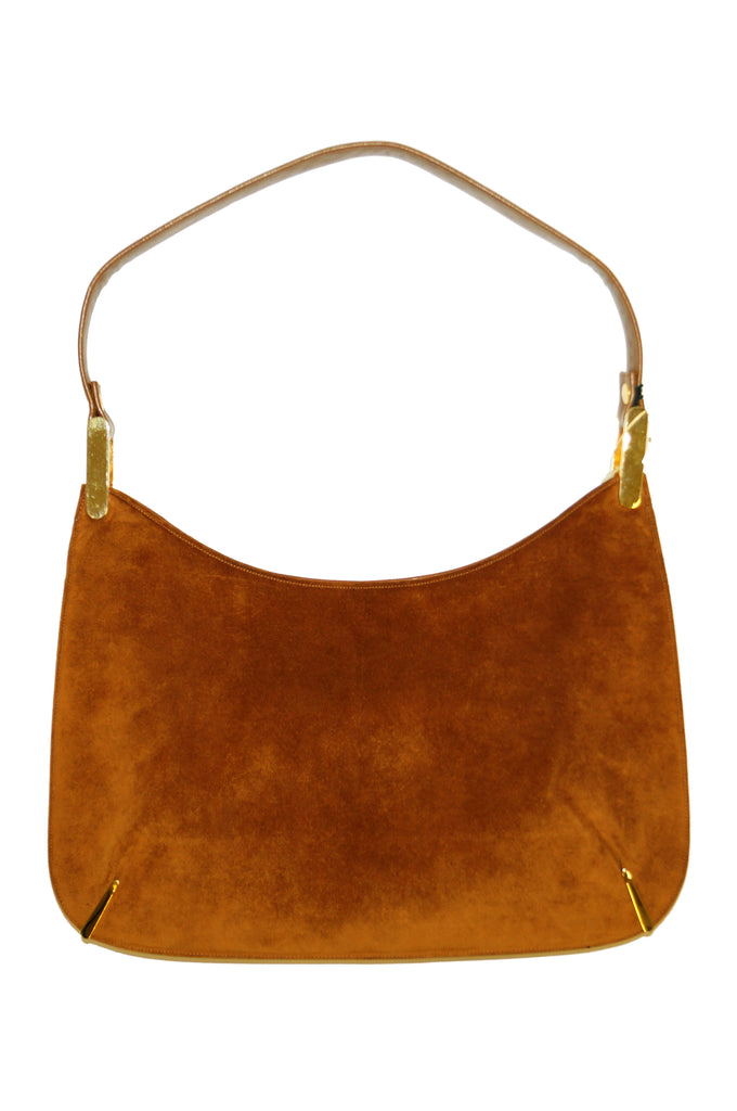 1970s Susan Gail Amber Suede Shoulder Bag with Original Tags