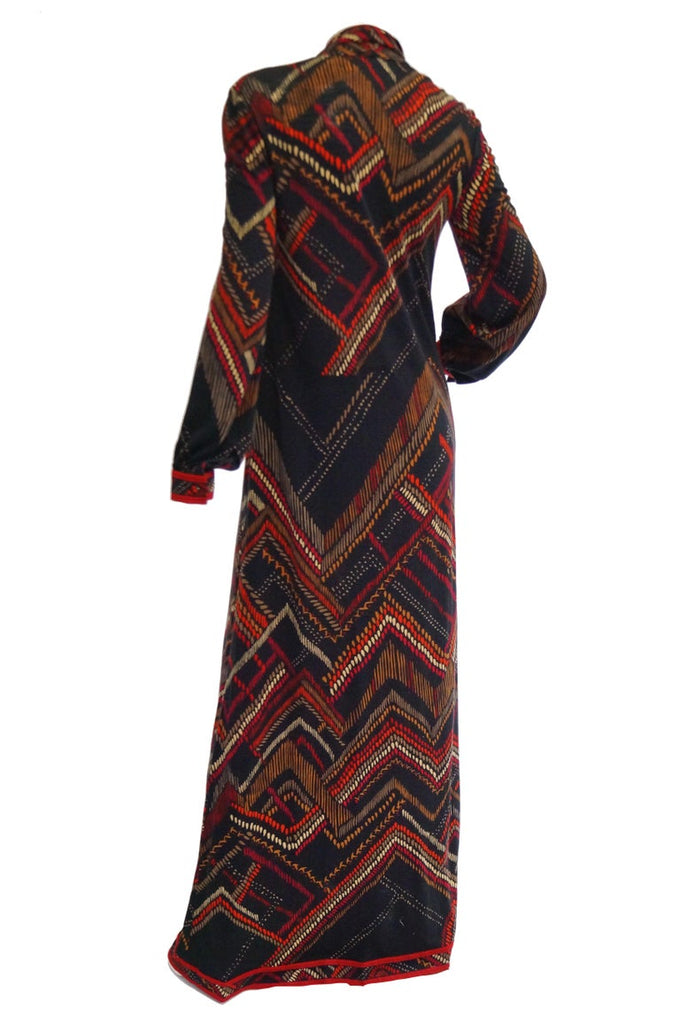 1970s NWT Leonard Black and Red Abstract Tribal Print Knit Dress NWT