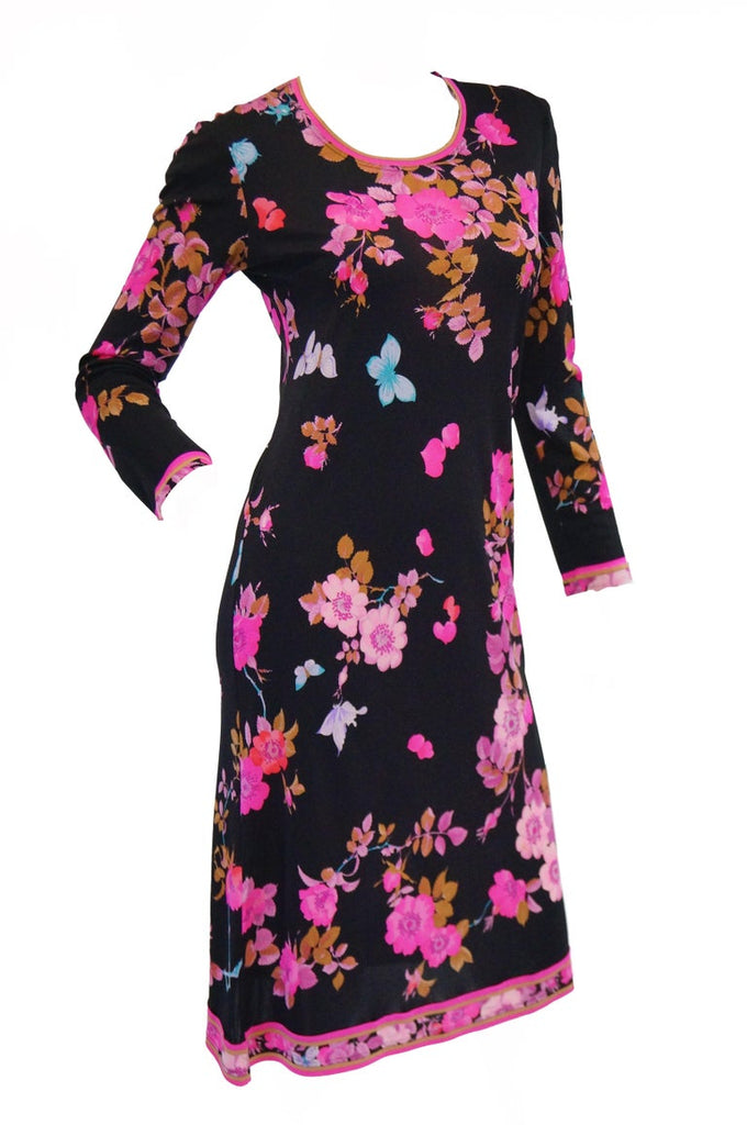 1960s Leonard Black & Pink Floral Silk Jersey Midi Dress