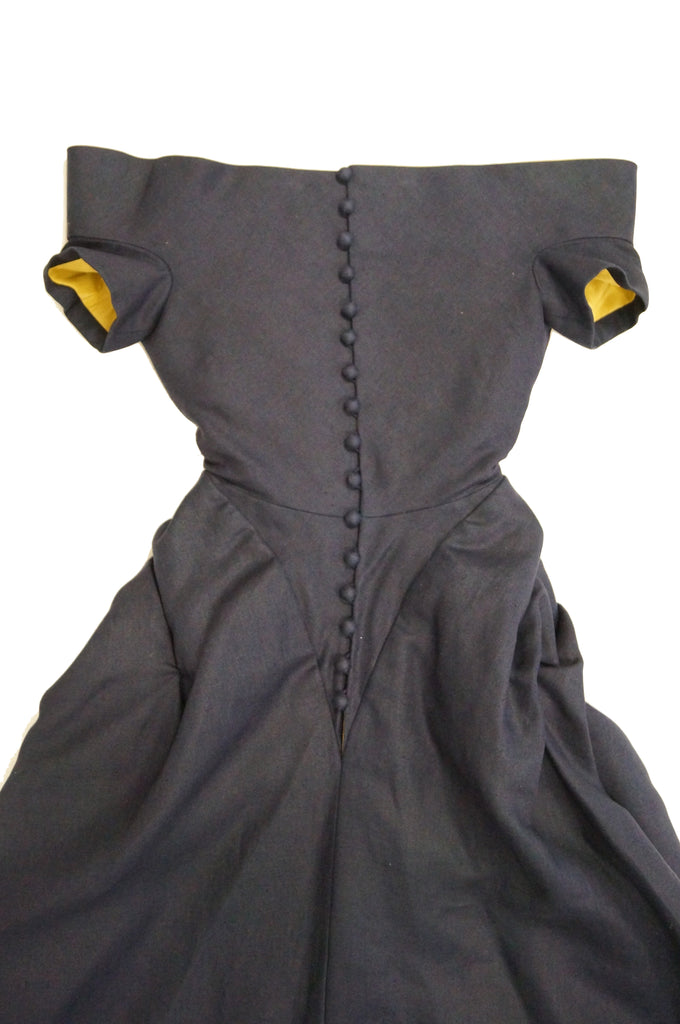 1991 Christian Lacroix Couture Navy Linen and Gold Silk Shantung Evening Gown 32