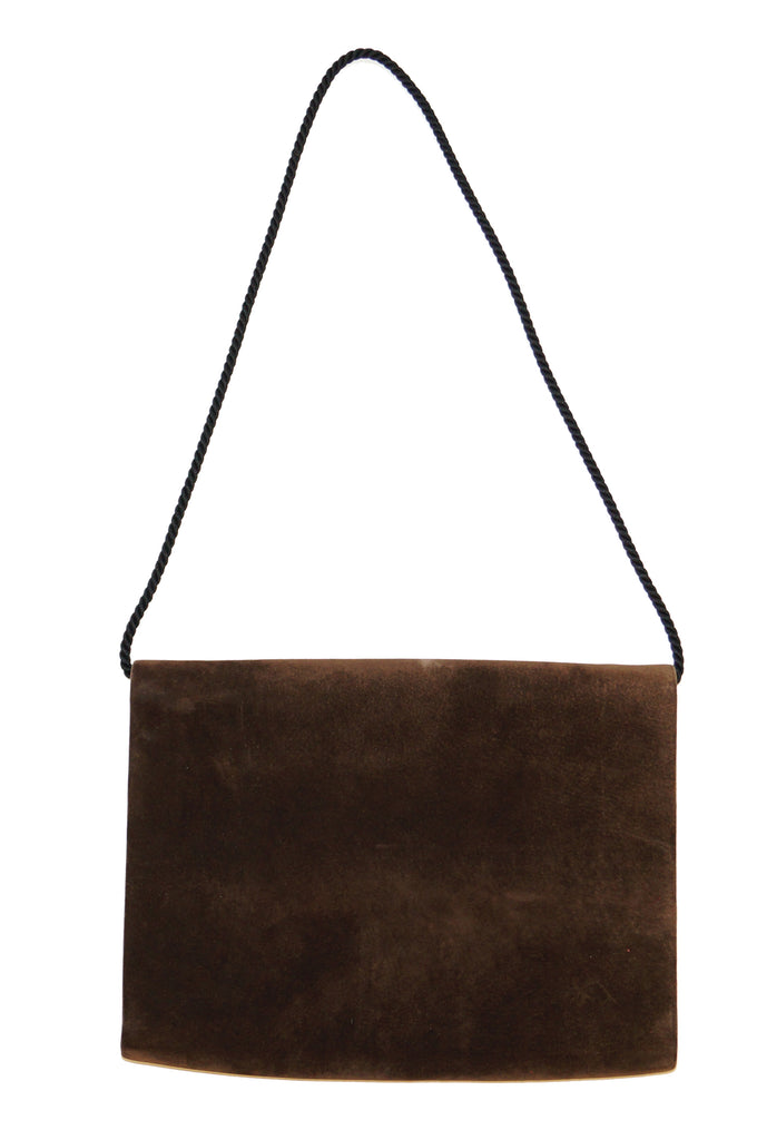 1980s Dominique Aurientis Brown French Suede Envelope Cord Detailed Handbag