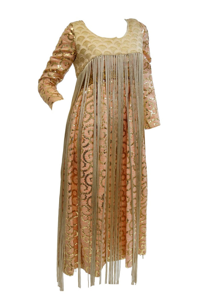 1960s Lisa Meril Pink and Gold Sequin Swirl Dress with Gold Fringe Vest