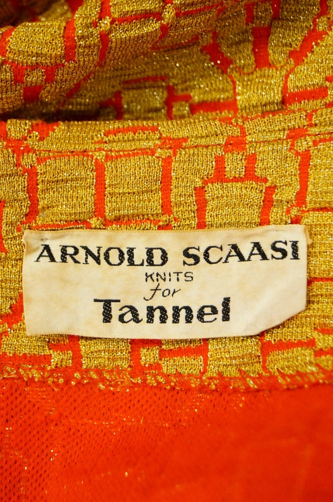 1960s Arnold Scaasi Gold and Red Knit Evening Dress and Jacket