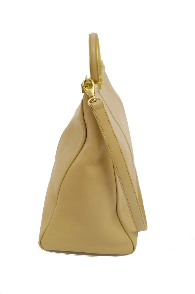 Oversized Barry Kieselstein - Cord Taupe Italian Leather Nefertiti Clasp Handbag