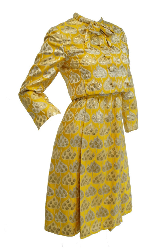 1960s Mollie Parnis Gold and Yellow Leaf Print Cocktail Dress