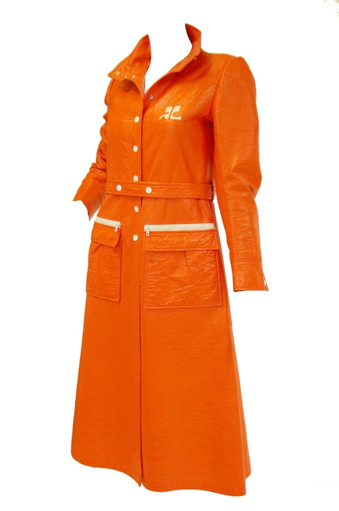 1972 André Courrèges Safety Orange Vinyl Mod Coat