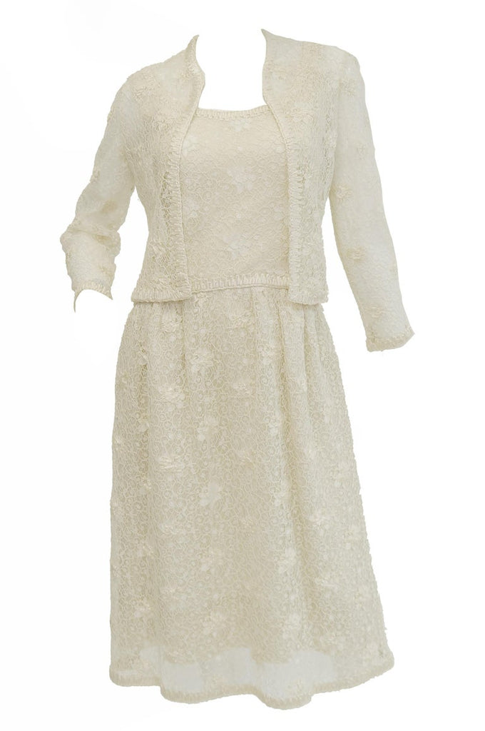 Rare 1960s Jean Louis Couture Ivory Lace and Ribbon Work Cocktail Dress and Jacket