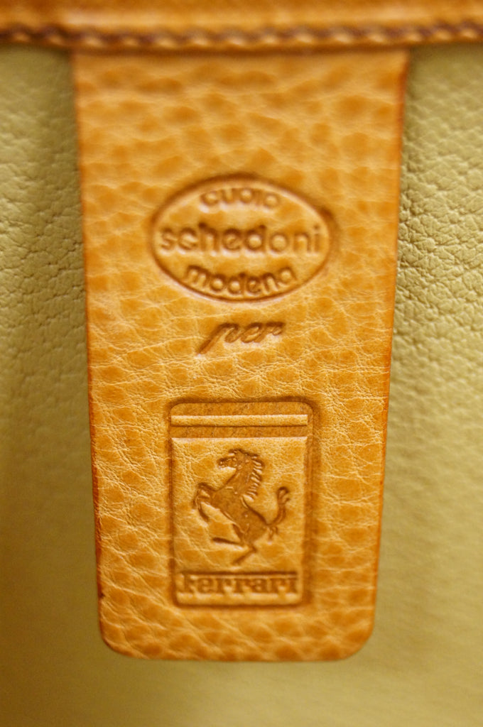 Rare 1990s Schedoni for Ferrari 348 355 Tan Italian Leather Console Luggage