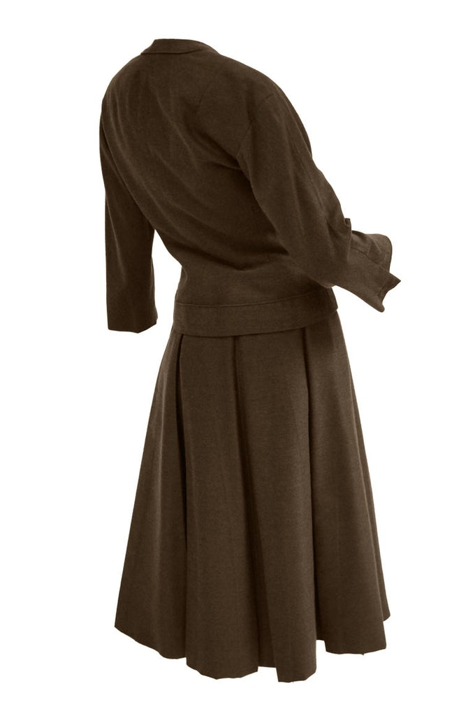 "1950s Christian Dior Espresso Brown Wool ""New Look"" Skirt Suit"
