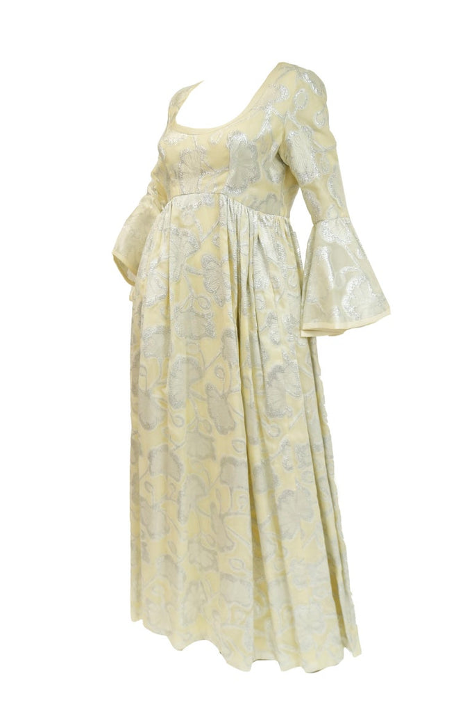 1970s Lisa Meril Cream and Silver Floral Brocade Empire Waist Evening Dress