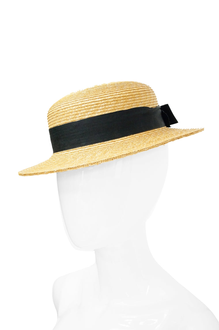 1980s Yves Saint Laurent Straw Boater Hat