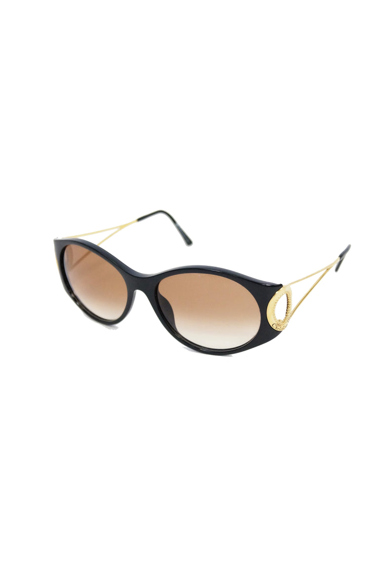 51d0649555 1980s Christian Dior Black and Gold 2661 Sunglasses