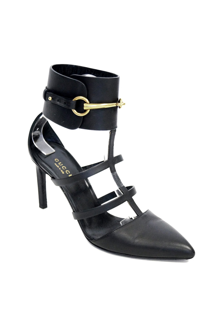 Tom Ford for Gucci Black Ankle Strap with Horsebit Logo Heels, 2000s