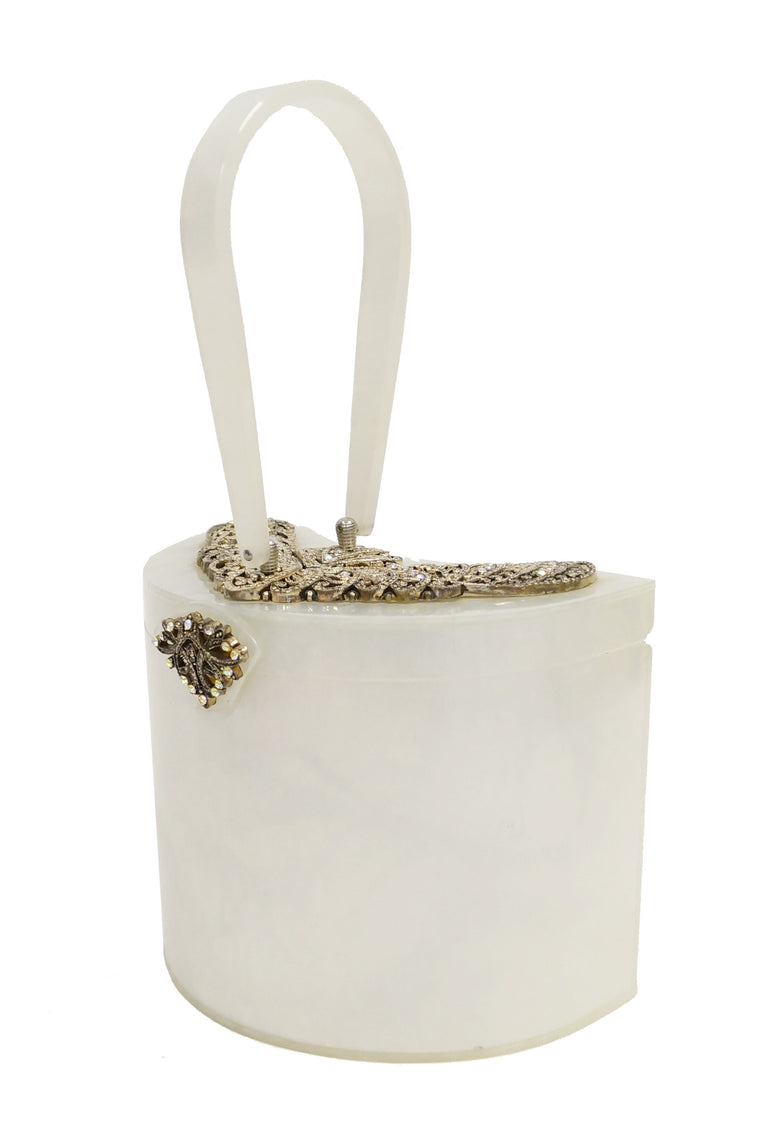 1950s Wilardy Pearlescent Half Moon Lucite Purse