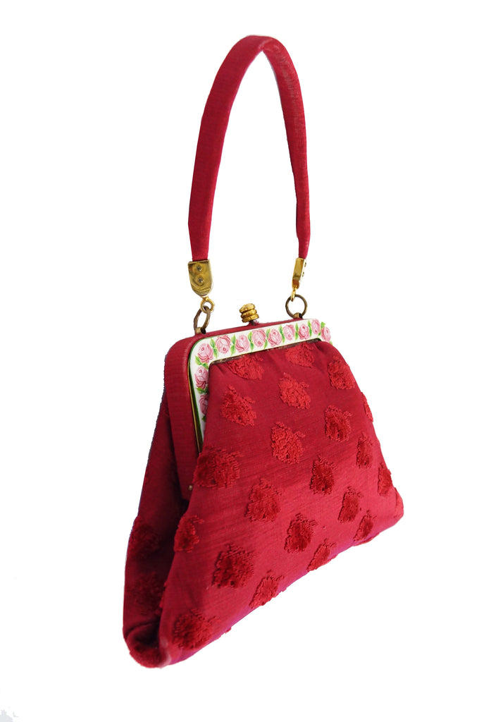1950s Roberta di Camerino Red Tapestry Evening Bag with Hand Painted Porcelain