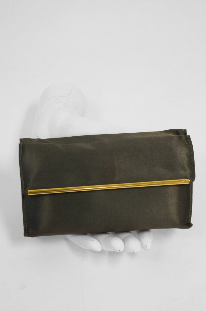 1950s Evans Green Satin Clutch w/ Gold Tone Compact and Accessories