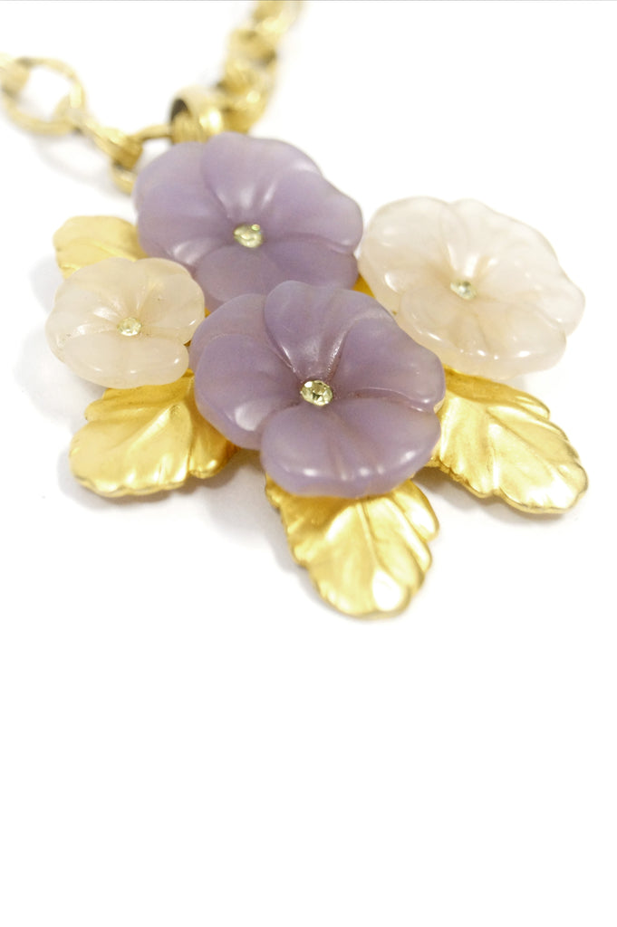 1980s Karl Lagerfeld Lucite Floral Pendant Necklace