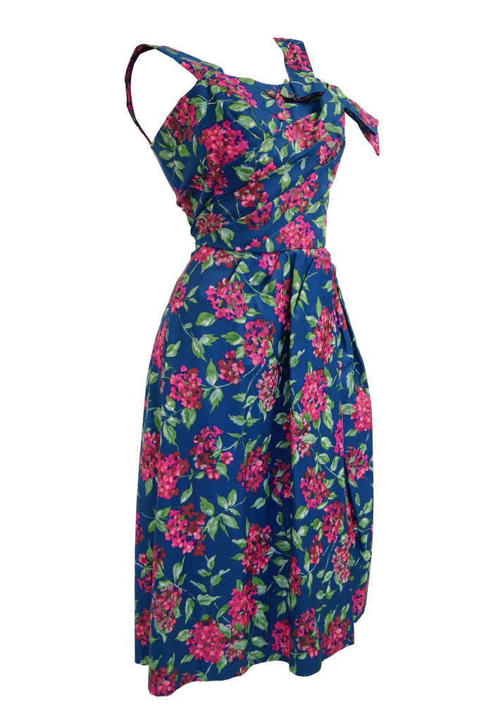 1950s Marty Modell Navy and Pink Floral Ribbed Cotton Faille Dress