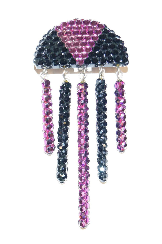 1980s Richard Kerr Art Deco Rhinestone Fringe Earrings