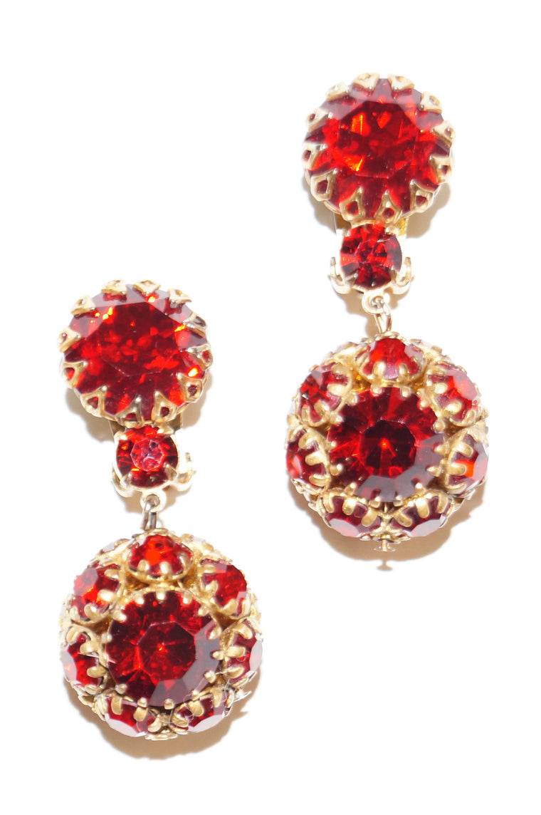 1940s Hattie Carnegie Ruby Red Rhinestone Drop Earrings