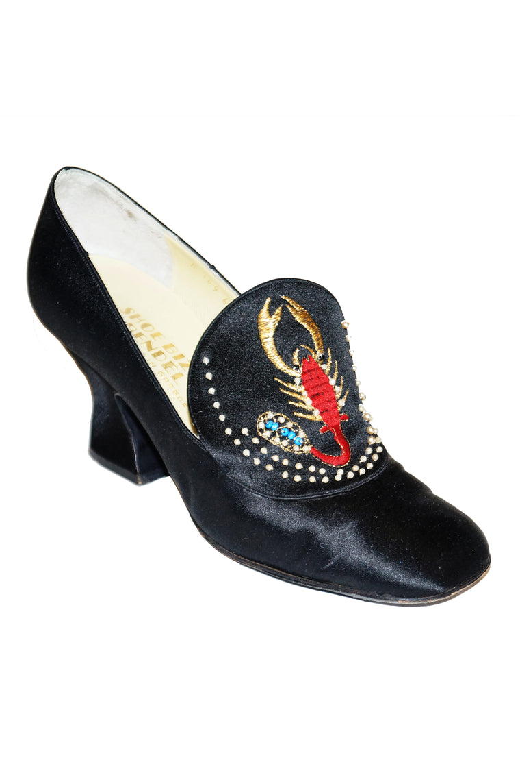 "1970s ""Shoe Biz"" Grecian Scorpion Embroidered Satin Heel"