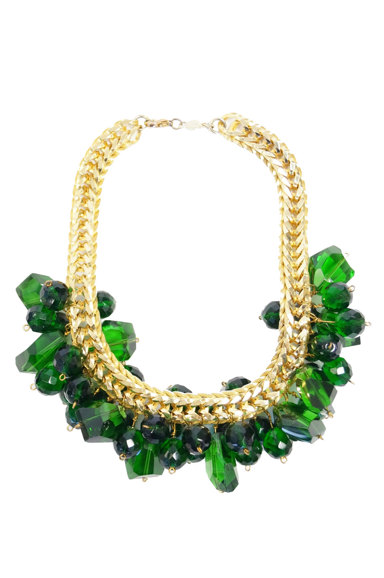 1960s Accessocraft Green Cut Glass Cluster Necklace