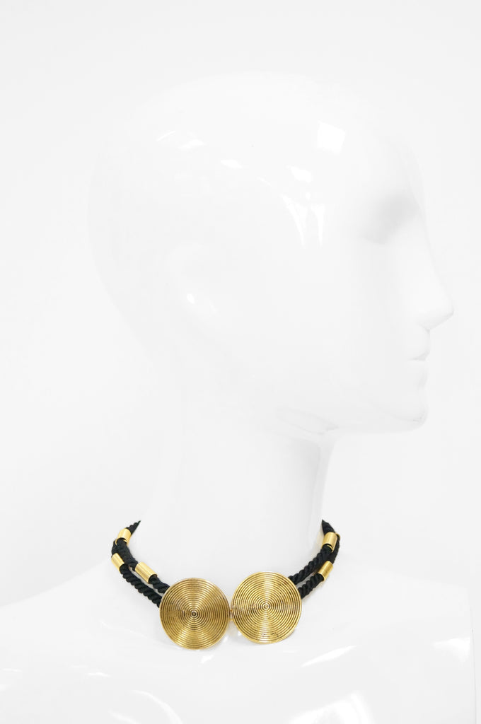 1970s Yves Saint Laurent Modern Silk Braided Choker w/ Swirl Disk Detail