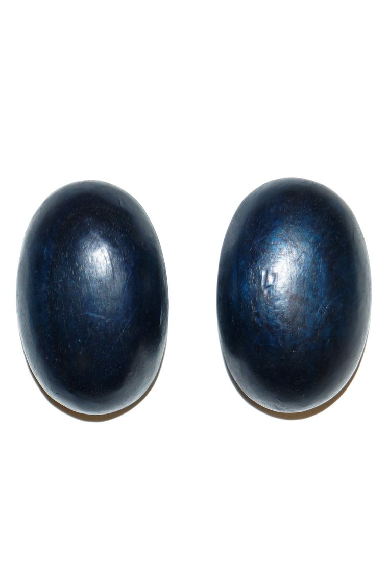 1980s Gerda Lynggaard Monies Blue/Black Oversized Ebony Oval Earrings