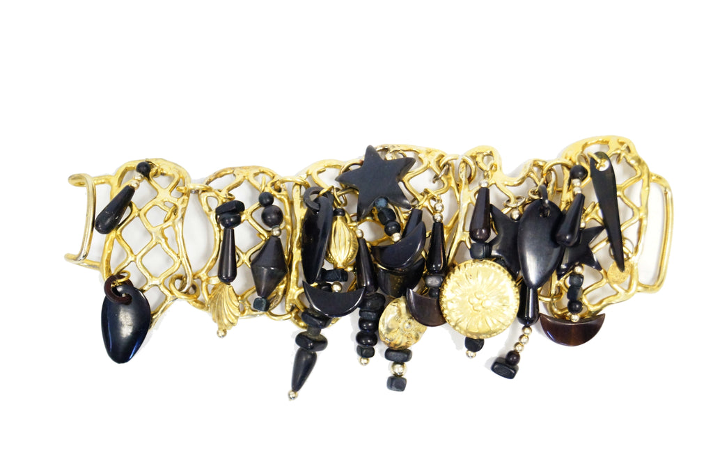 1980s Gerda Lynngaard Monies Structured Horn and Ebony Charm Bracelet
