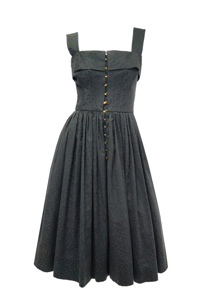 1940s Claire McCardell Black Cotton Dotted Dress with Metal Closures - Rare