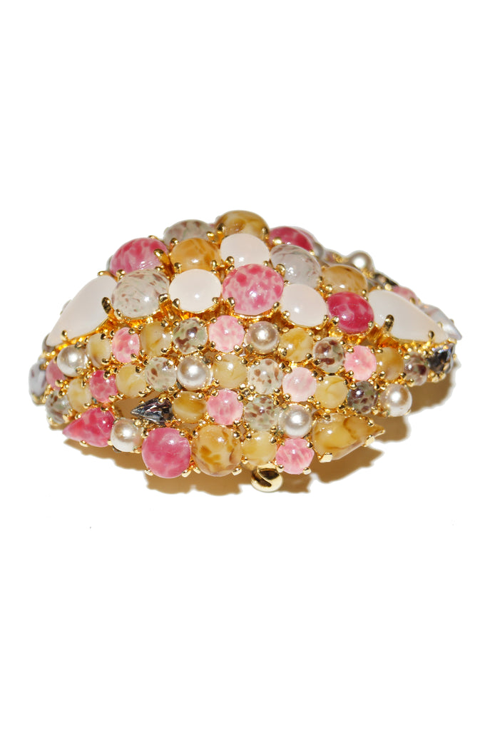 1963 Christian Dior Glass Cabochon Cluster Brooch