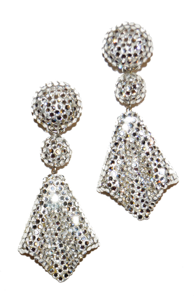 1980s Richard Kerr Rhinestone Drop Earrings