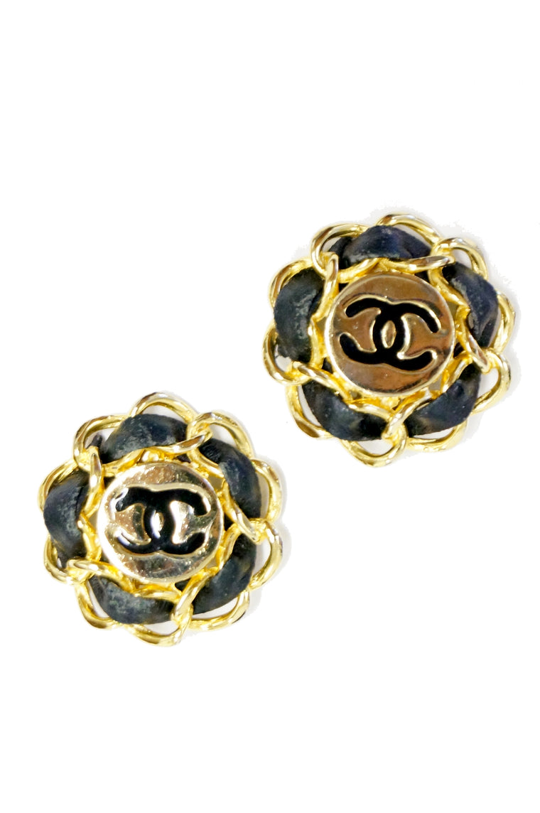 e392b4874 1980s Chanel Logo Gold and Leather Clip Earrings, Iconic