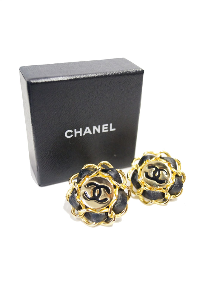 1980s Chanel Logo Gold and Leather Clip Earrings, Iconic