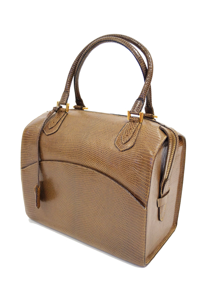 1960s Martin Van Schaak Custom Brown Java Lizard Skin Handbag Box Bag