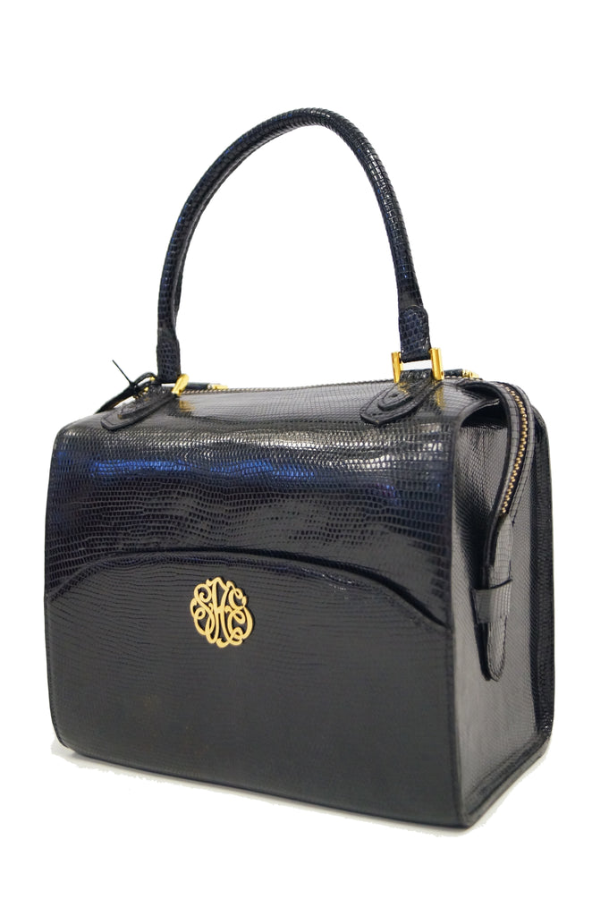 1960s Martin Van Schaak Custom Black Lizard Box Bag