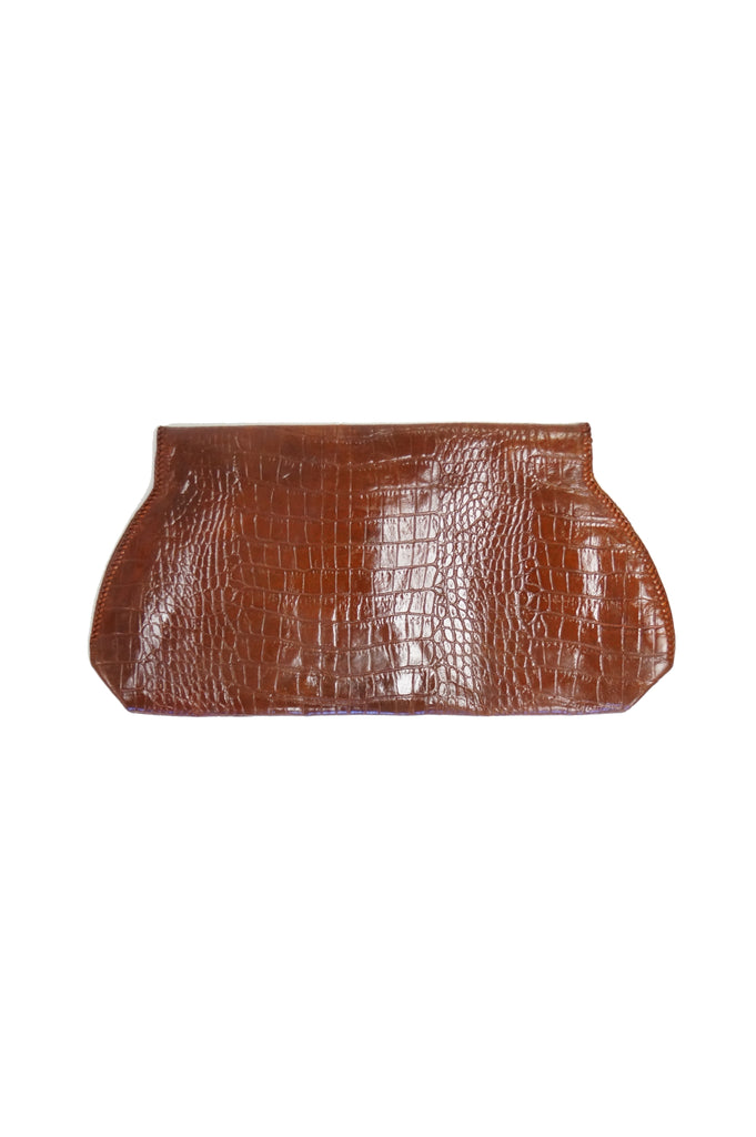 1950s Embossed Alligator Clutch with Lucite Clasp