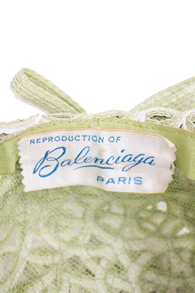 1950s Balenciaga Reproduction Peach Basket Hat in Subtle Green