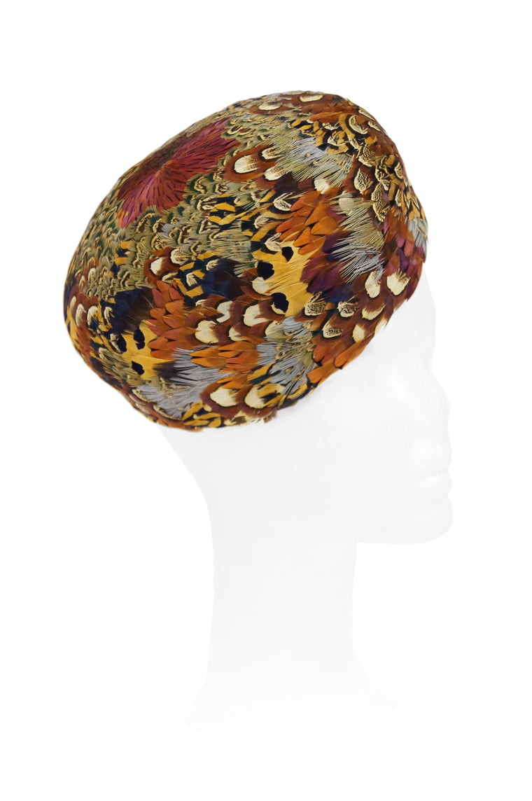 1960s Urbi et Orbi Pheasant Feather Pillbox Hat