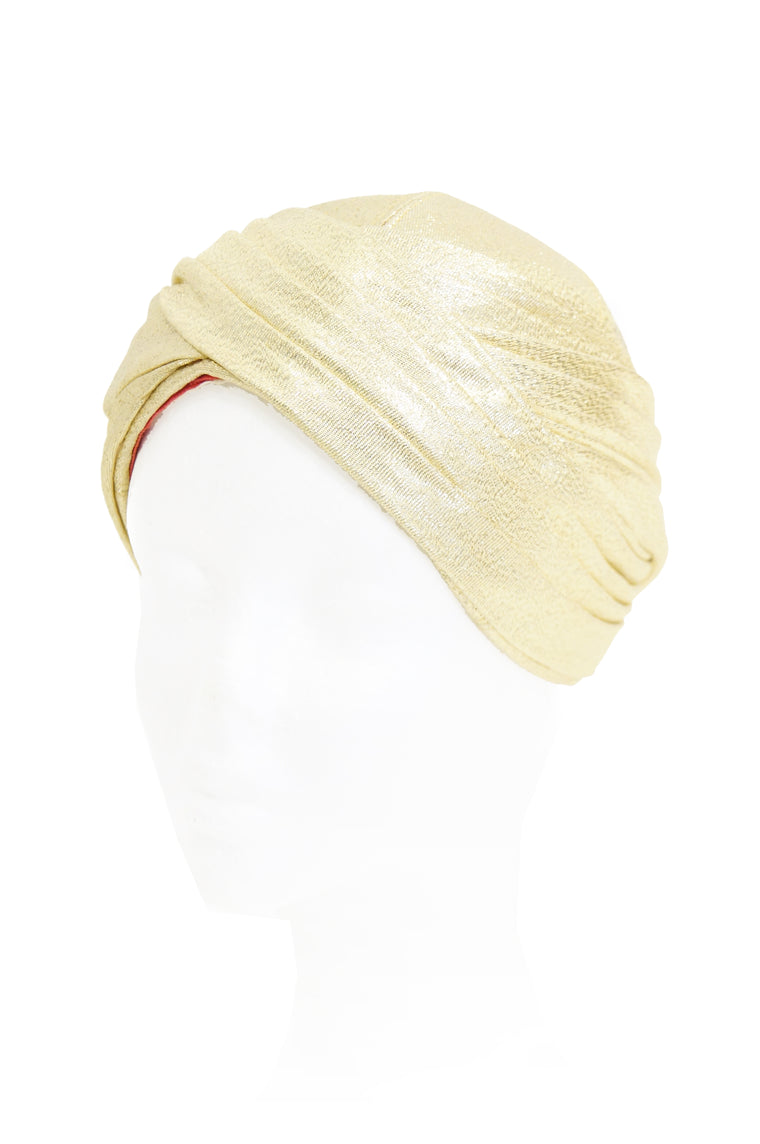 1950s Pierre Cardin Gold Metallic Turban - Rare