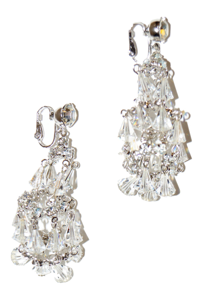 1960s Hattie Carnegie Rhinestone and Crystal Chandelier Earrings