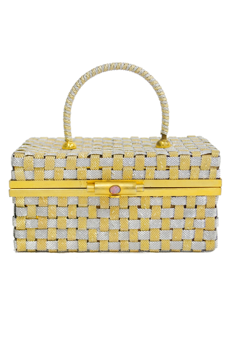 1950s Delil Silver and Gold Woven Metal Box Purse With Foil Opal Closure