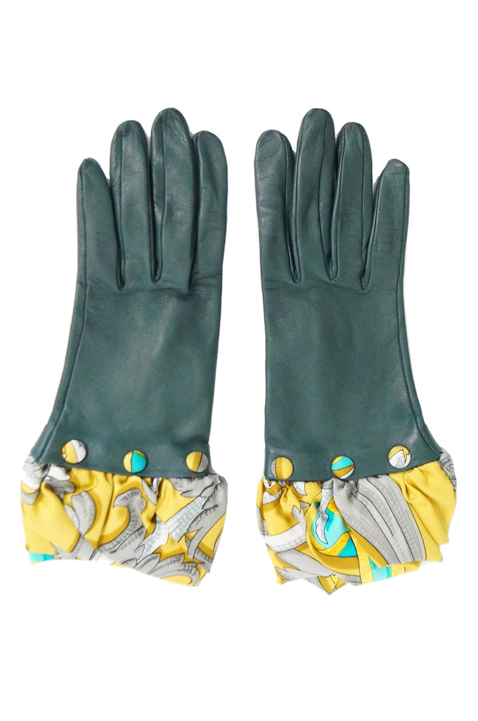 Hermes Green Calfskin Gloves W/ Optional Silk Scarf Cuff