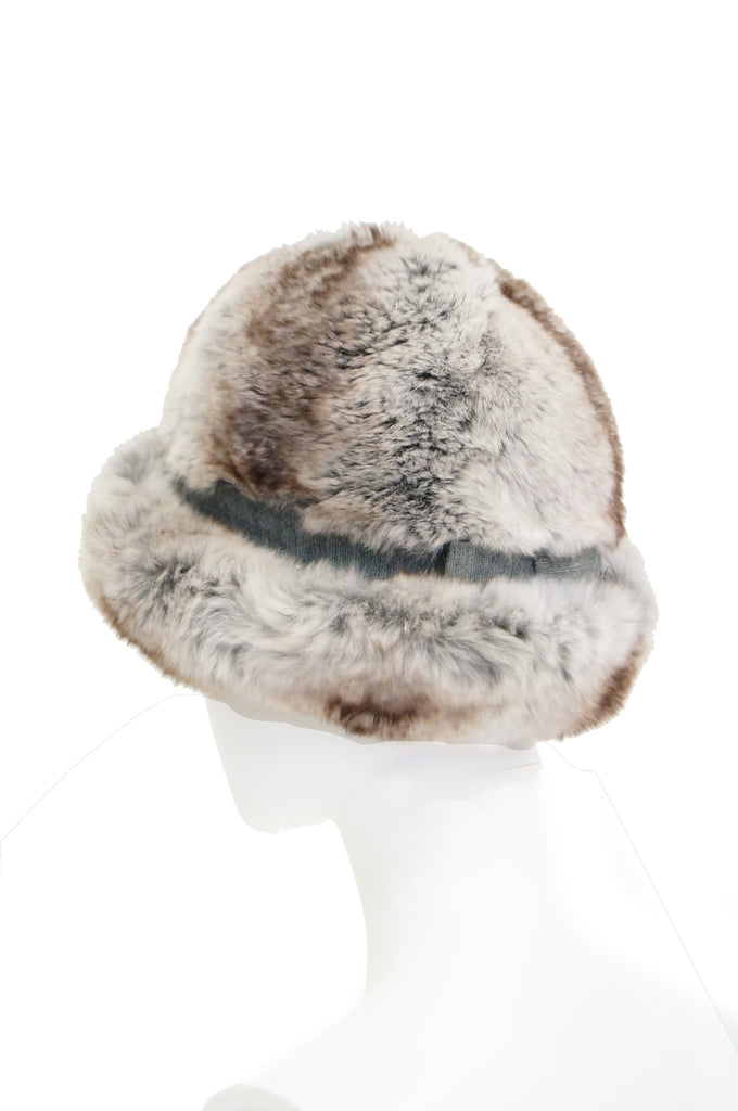 1960s Dior Chapeau Chinchilla Hat with Grossgrain Detail