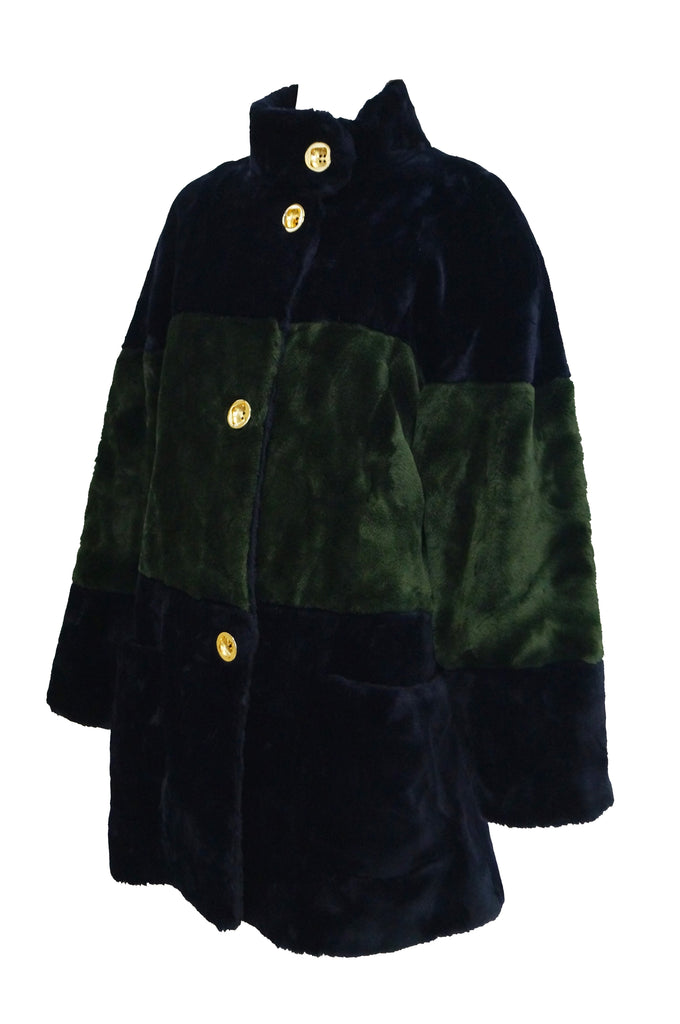 1980s Bill Blass Green and Black Colorblock Faux Sheared Mink Coat - XL