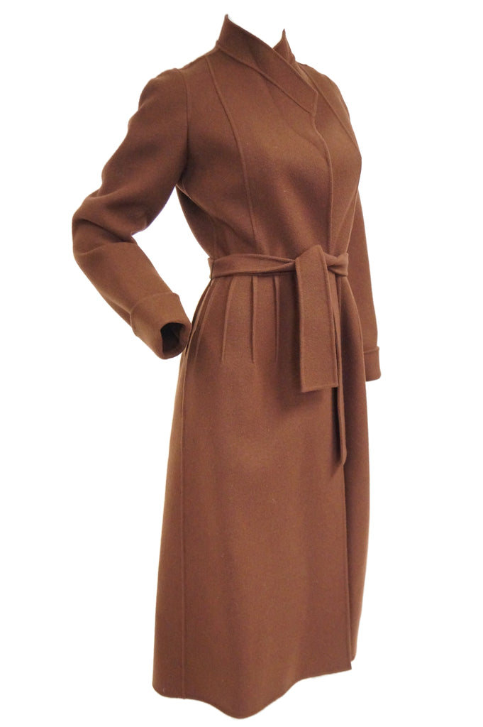 1970s Andre Laug Audrey Brown Wool Wrap Coat