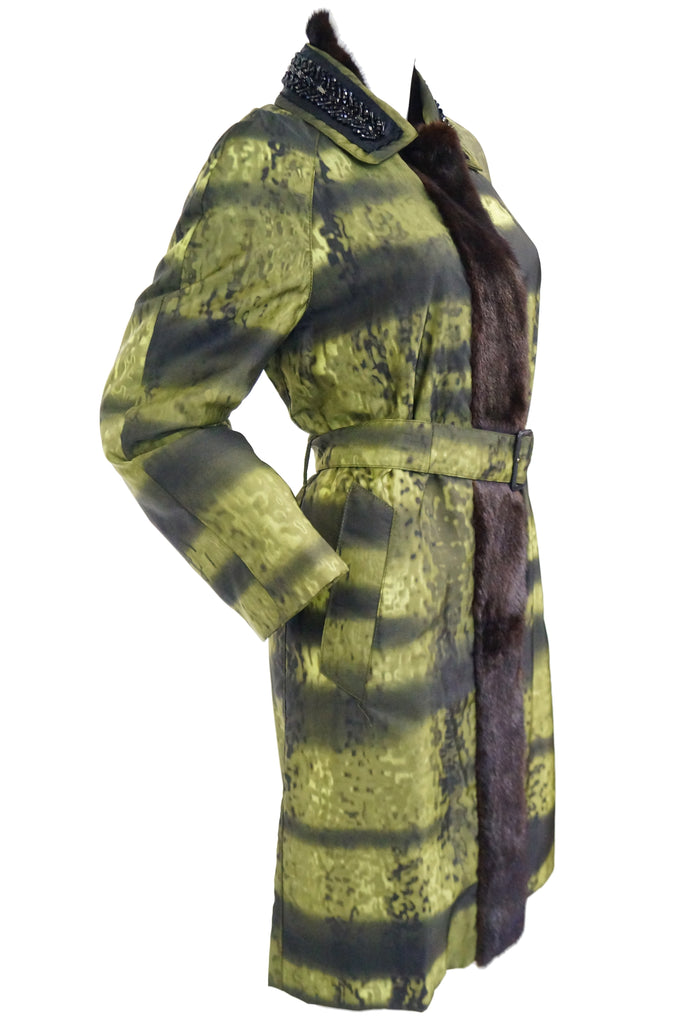 2004 Runway Prada Green Coat with Mink Trim and Bead Detail