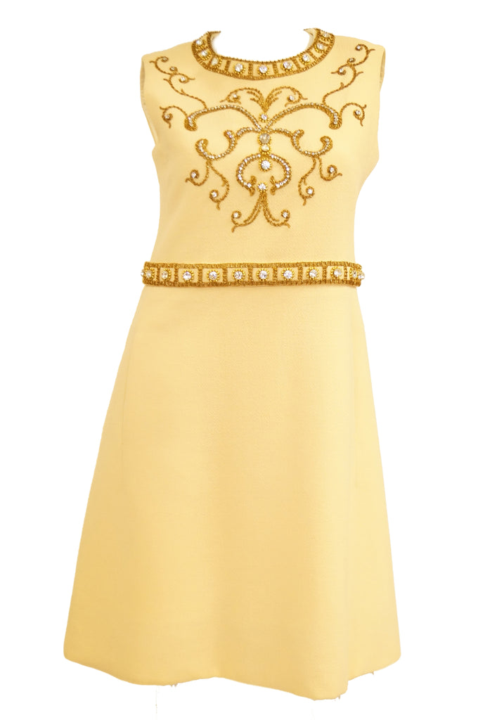 1960s Couture Cardinali Mod Shift Dress W/ Rhinestones & Gold Passementerie