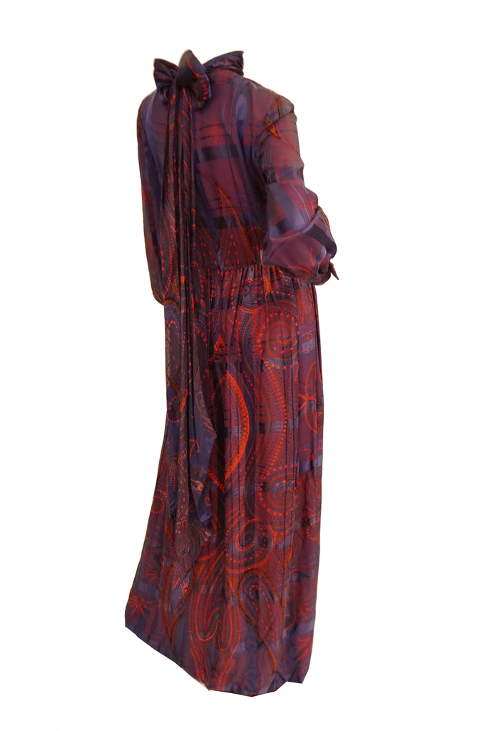 1970s Bill Blass Purple and Red Silk Evening Dress W/ Neck Tie/ Bow Detail