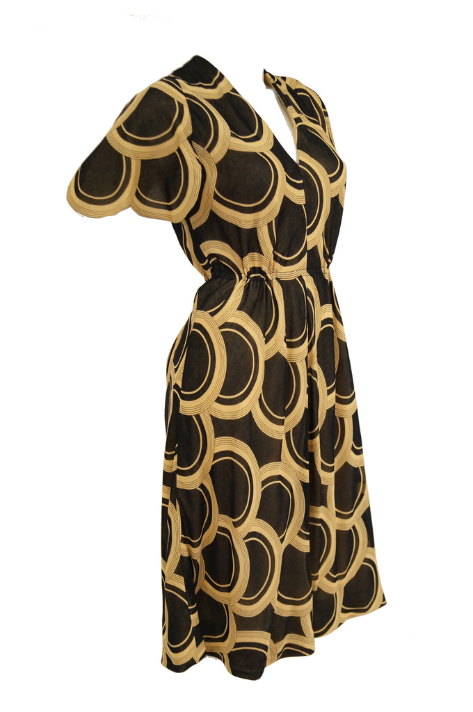 1960s Pauline Trigere Circle OP Art Cotton Dress w/ Scalloped Sleeve & Scarf